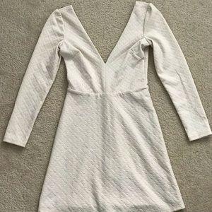 Cream long-sleeve dress
